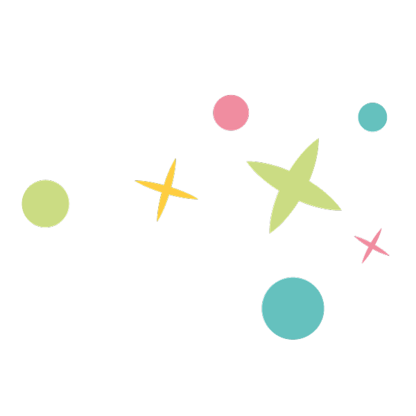 Éléments étoilés et points colorés du logo d'Enfance et Merveilles, Montessori, Art Thérapie, Bien-être, Signes avec Bébé